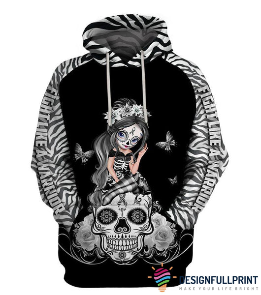 Fight Like A Warrior™ Zebra Rare Disease  Sugar Skull Girl Awareness Hoodie