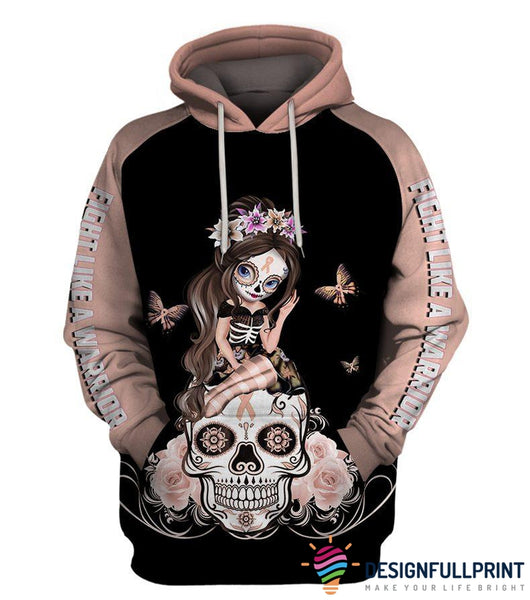 Fight Like A Warrior™ Peach Uterine Cancer Sugar Skull Girl Awareness Hoodie