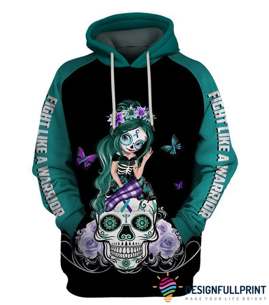 Fight Like A Warrior™ Teal and Purple Sugar Skull Girl Sucide Awareness Hoodie