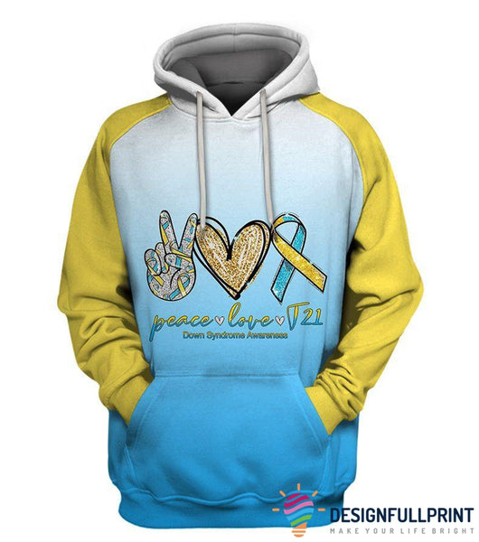 Peace Love Down Syndrome Day US Unisex Size Hoodie Zipup Longsleeve