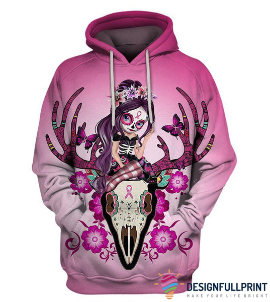 Deer Skull Vintage Spring Sugar Skull Girl Breast Cancer Awareness Hoodie