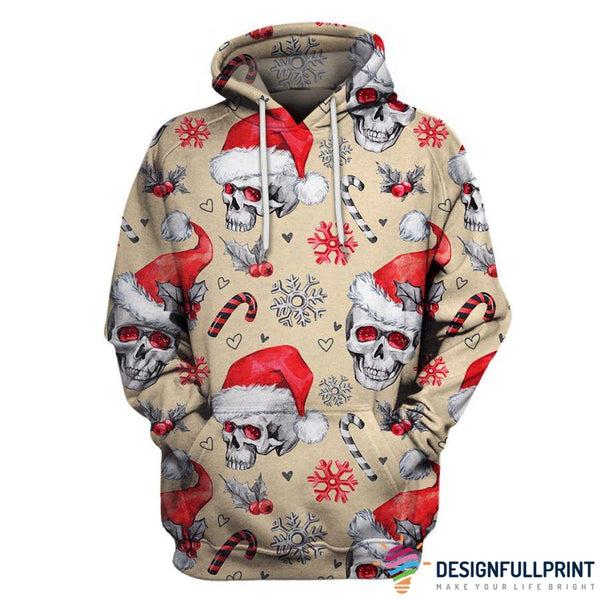 Multi-Color Christmas Skull US Unisex Size Pullover Hoodie