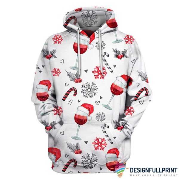 Christmas Wine Glass US Size Unisex Hoodie