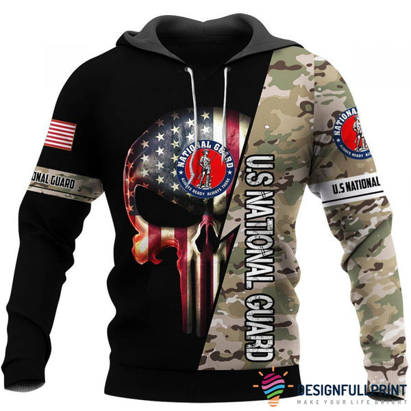 US National Guard Skull US Unisex Size Hoodie
