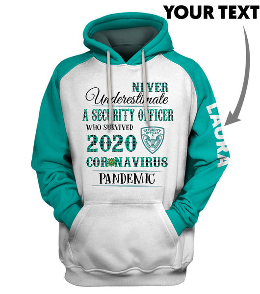Personalized Never Underestimate a Security Officer US Unisex Size Hoodie