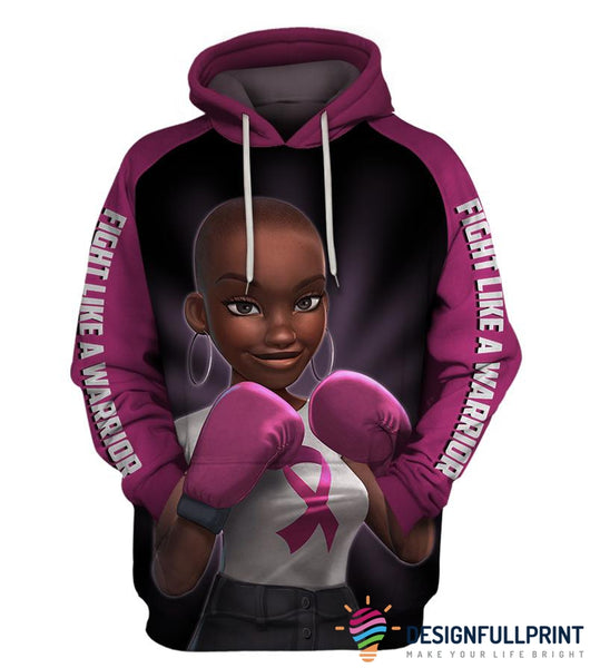 Pink Fight Like A Warrior Breast Cancer Awareness Unisex Zipup/ Pullover Hoodie T-shirt Sweatshirt