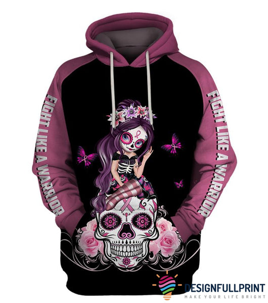 Pink Fight Like A Warrior™ Breast Cancer Awareness Sugar Skull Girl Unisex Zipup/ Pullover Hoodie T-shirt Sweatshirt