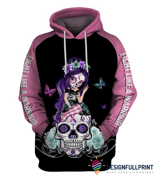 Fight Like A Warrior™ Pink Thyroid Cancer Sugar Skull Girl Awareness Hoodie