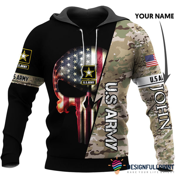 Personalized US Army Skull US Unisex Size Hoodie