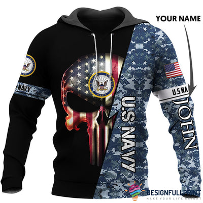 Personalized US Navy Skull US Unisex Size Hoodie