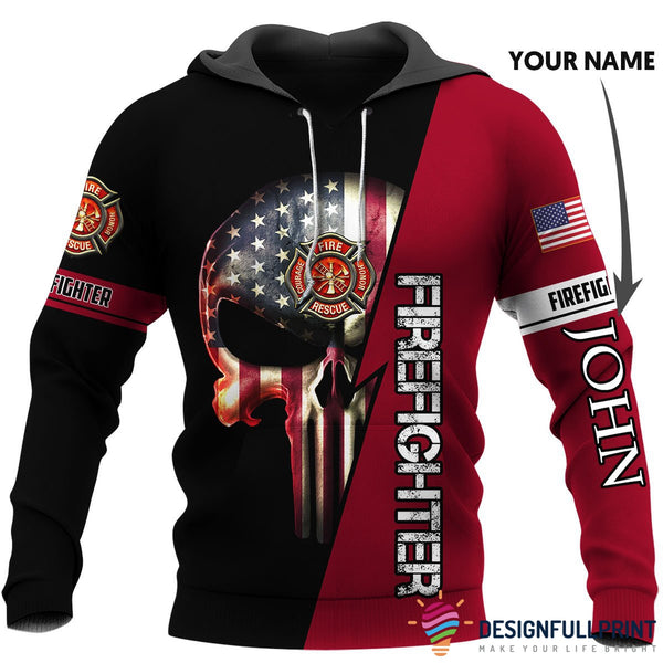 Personalized US Firefighter Skull US Unisex Size Hoodie