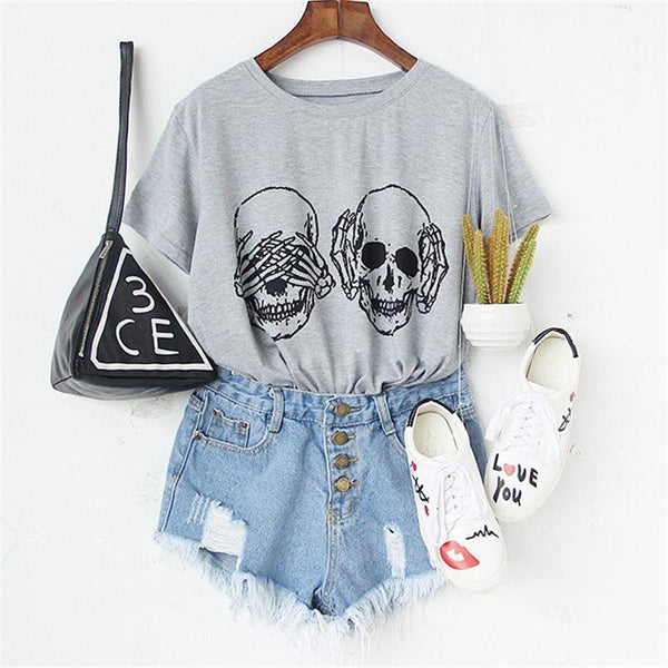 Skull Print Round Neck Short Sleeve T-shirt - designfullprint