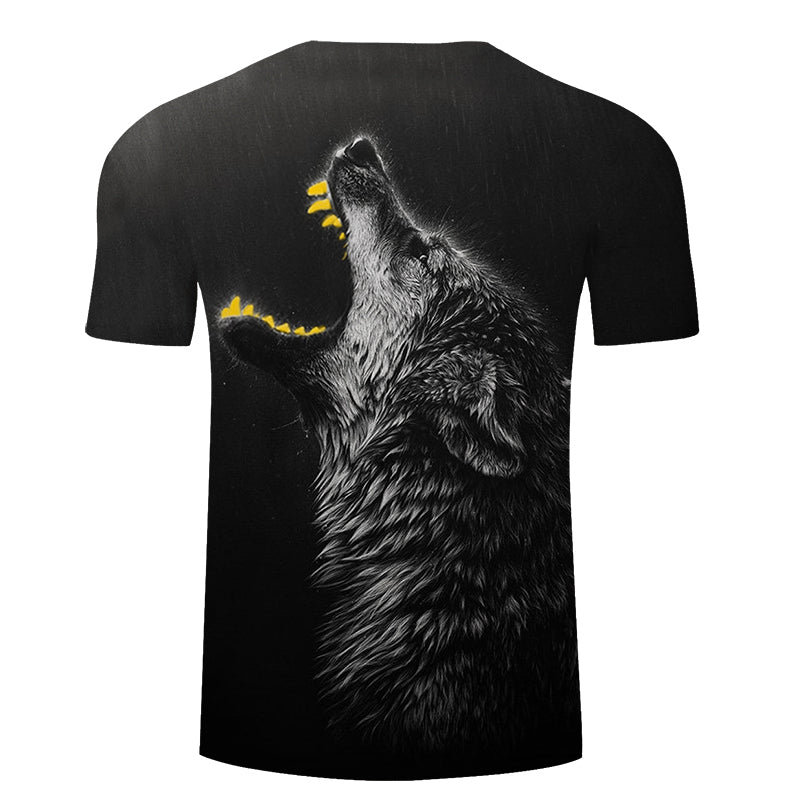 Yellow Teeth Wolf 3D Print Men Women T-shirt , Summer Funny Short Sleeve O-neck Tops&Tees - designfullprint