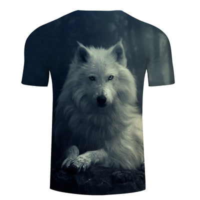 White Wolf 3D Print Unisex T-shirt, Summer Casual Short Sleeve O-neck Tops&Tees - designfullprint