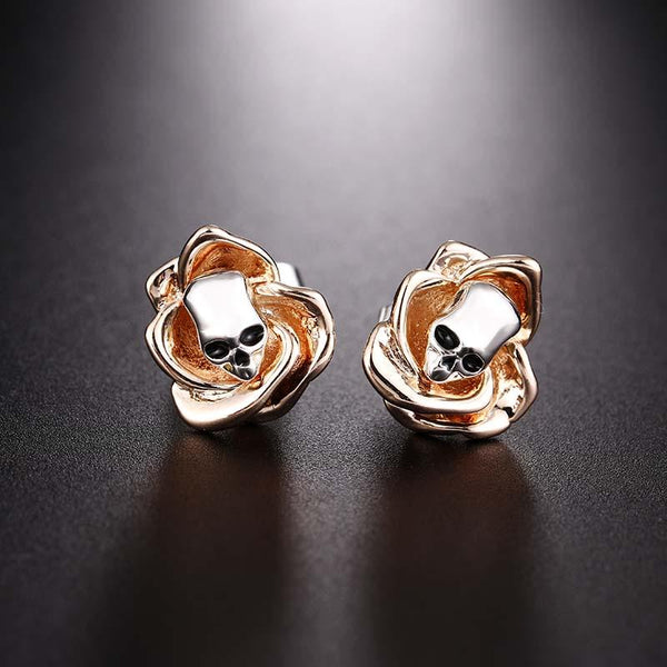 Skull Skeleton Flower Stud Earrings