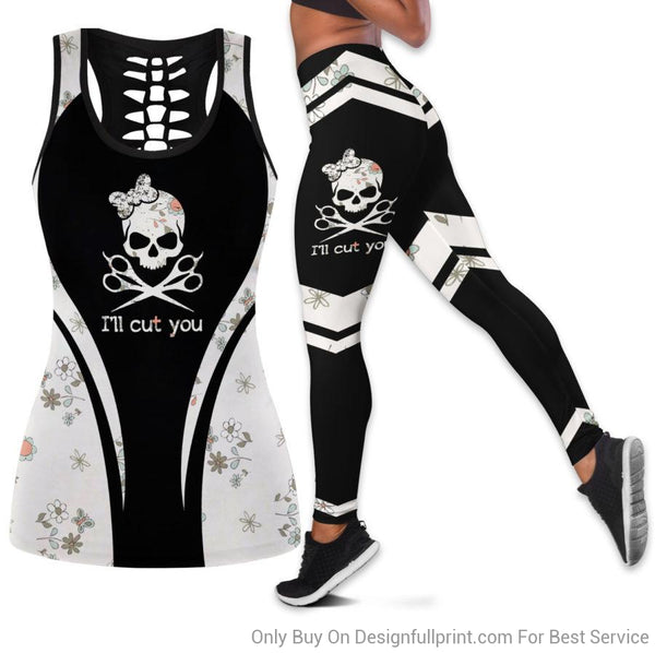 Hairstylist skull, I will cut you Tank Top And Legging Set