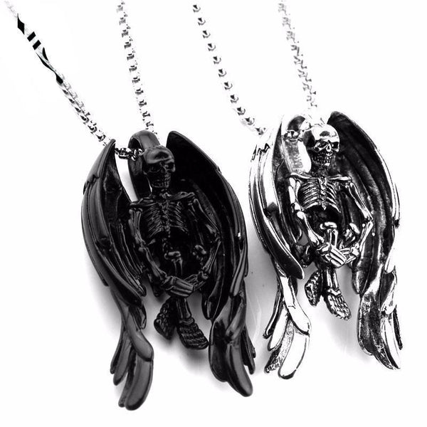 Skeleton Skull Wings Necklace - designfullprint