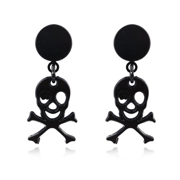 Punk Rock Skull Round Magnetic Stud Earrings