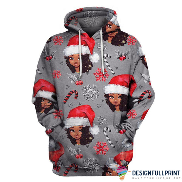 Gray Christmas Black Girl Hoodie