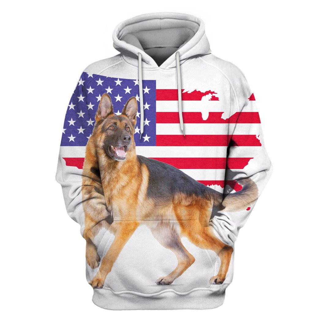 German Shepherd Dogs Under American Flag 3D HOODIE 03