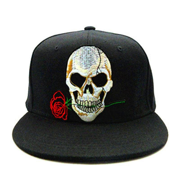 Rose Skull embroidery cotton Baseball Cap Adjustable Snapback