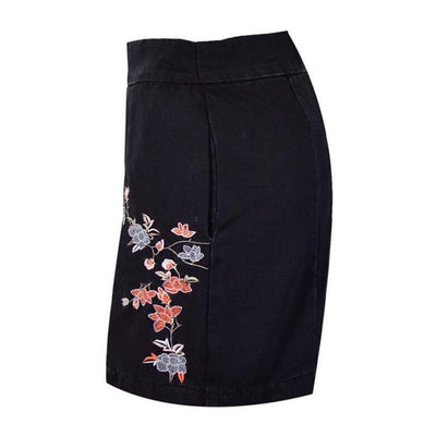 Flower Embroidery Black Skirt - designfullprint