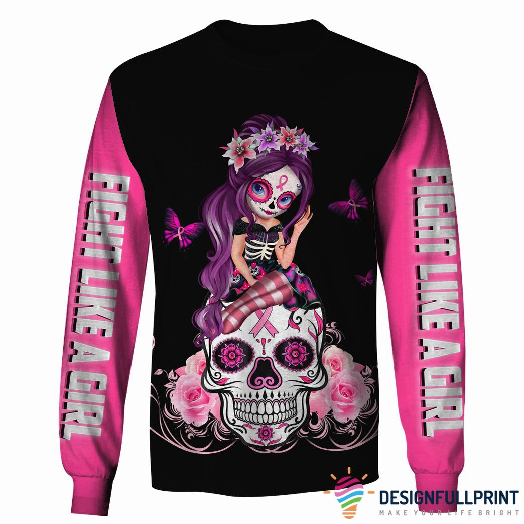 Pink Sugar Skull Girl Breast Cancer Awarenes Zipup/ Pullover Hoodie T-shirt Sweatshirt