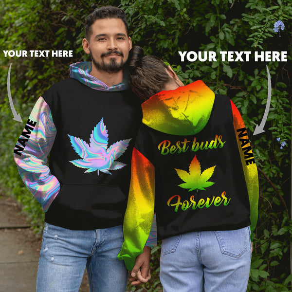 Pot Leaf best buds ever weed Couple personalized US unisex size hoodie