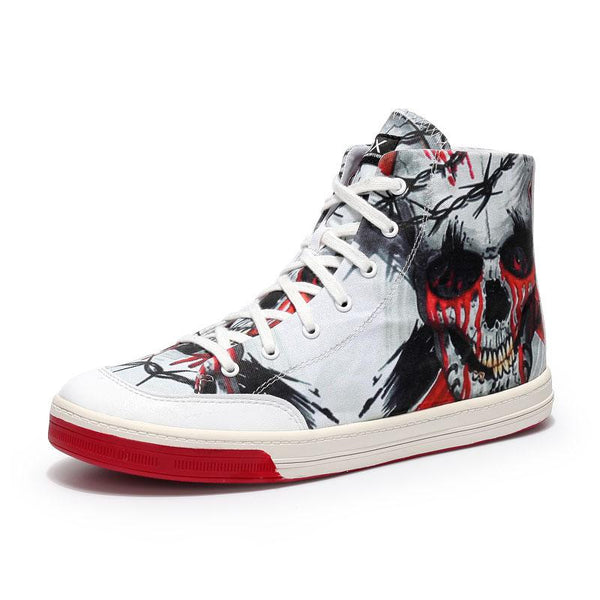 Man's Canvas Skull Breathable Boots Sneakers