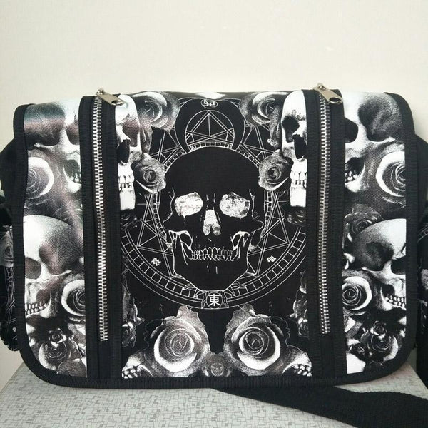 Skulls Roses Black & White Waterproof Shoulder Cross Bag - designfullprint