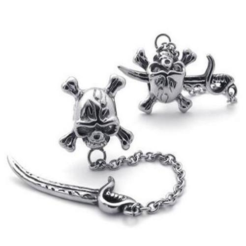 Vintage Stainless Steel Pirate Skull Stud Earrings