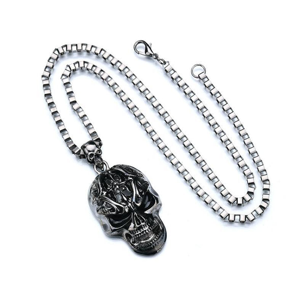Black Gun Plated Metal Big Skull Pendant - designfullprint