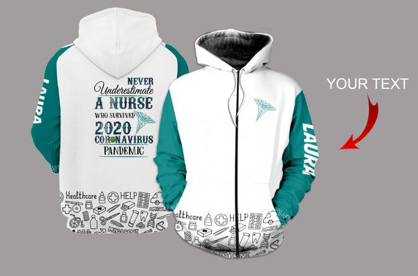 Personalized  Never Underestimate Healthcare Workers US Unisex Size Zipup Hoodie