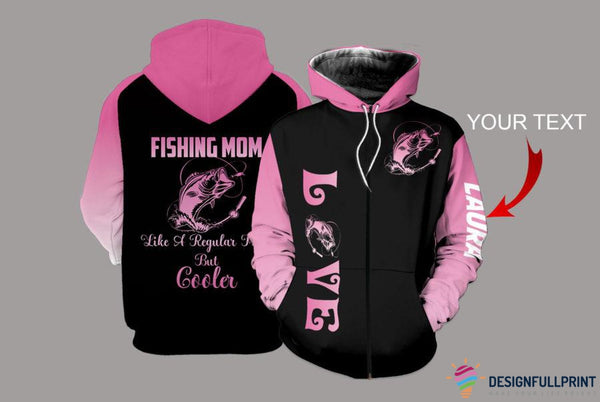 Fishing Mom Personalized US Unisex Size Zipup Hoodie