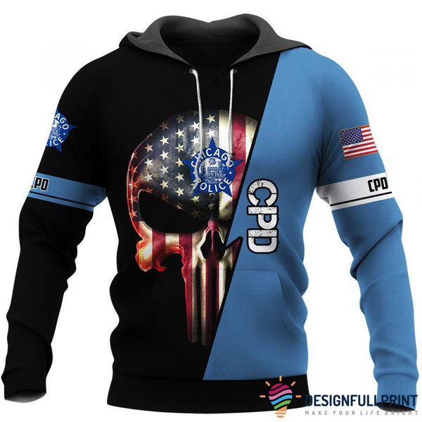 Cpd Chicago PD Skull Law Enforcement US Unisex Size Hoodie