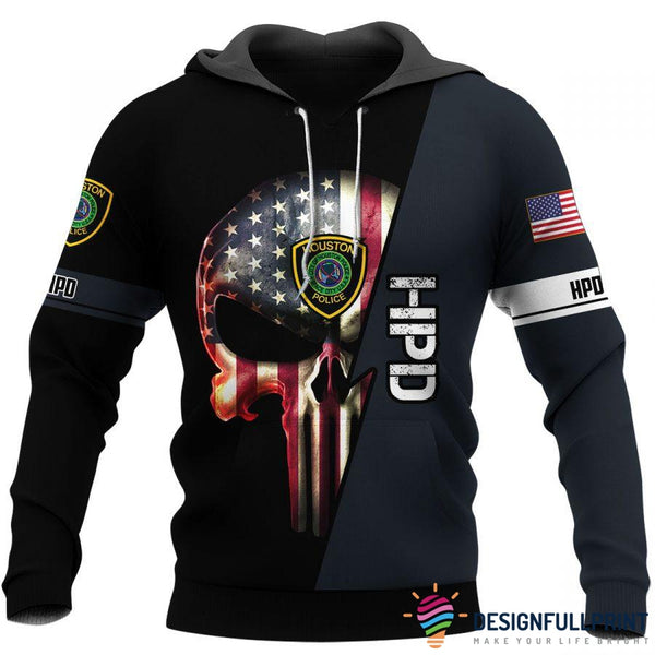 Law Enforcement Houston Police Skull Unisex US Size Hoodie