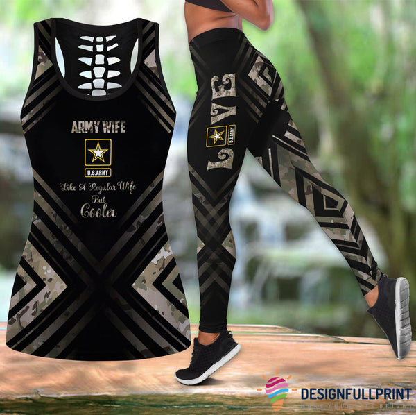 Army Wife Cool Wife Tank Top And Legging Set
