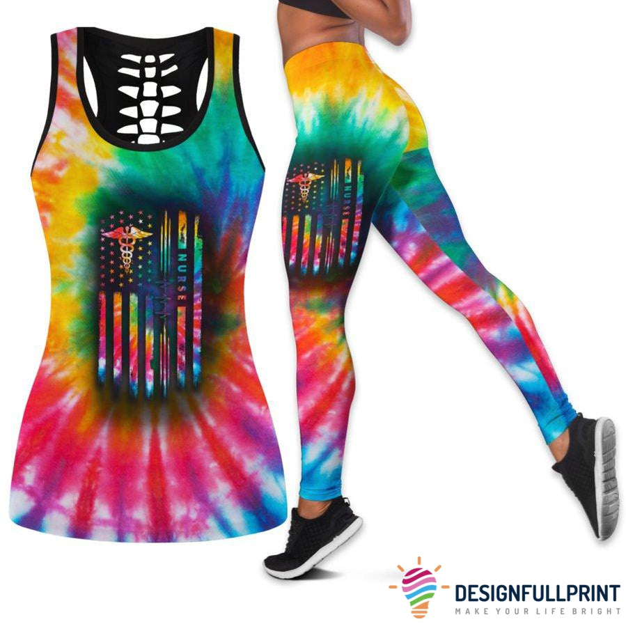 Nurse Tie Dye Flag Tank Top And Legging Set
