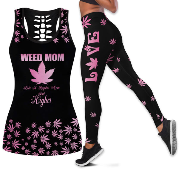 Pot Leaf Pink Weed Tank Top And Legging Set