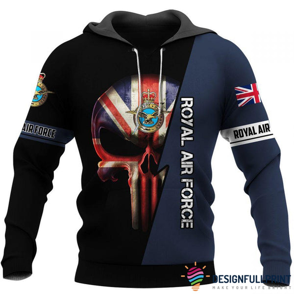 British Royal Air Force Skull US Unisex Size Hoodie