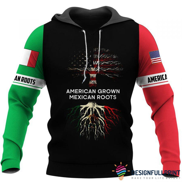 American Grown Mexican Roots US Unisex Size Hoodies