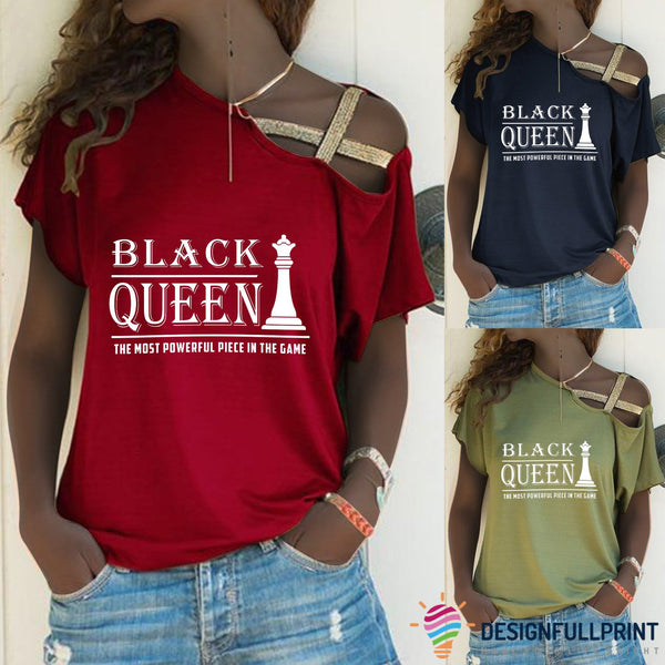 Black Queen Off Shoulder Cross Bandage Shirt
