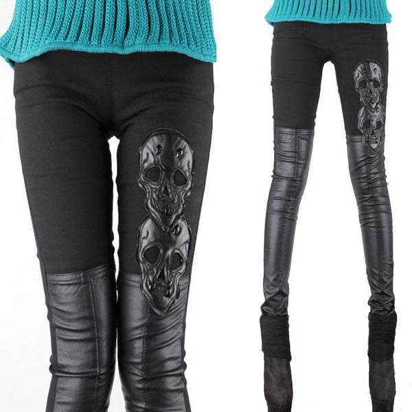 Skull Leather Pants - designfullprint