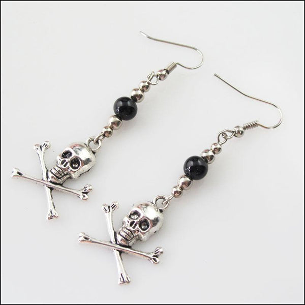 Silver Retro Skull Black Glass Dangle Hook Earrings - designfullprint