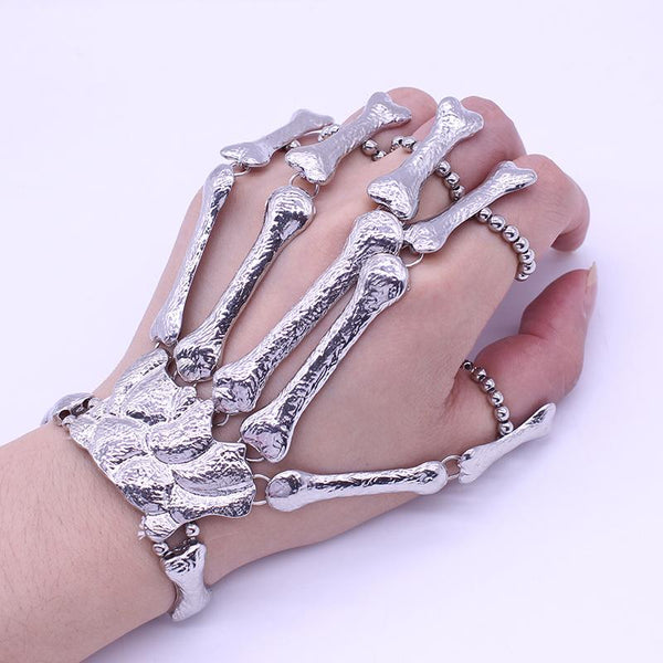Gothic Punk Finger Skeleton Bracelet for Women
