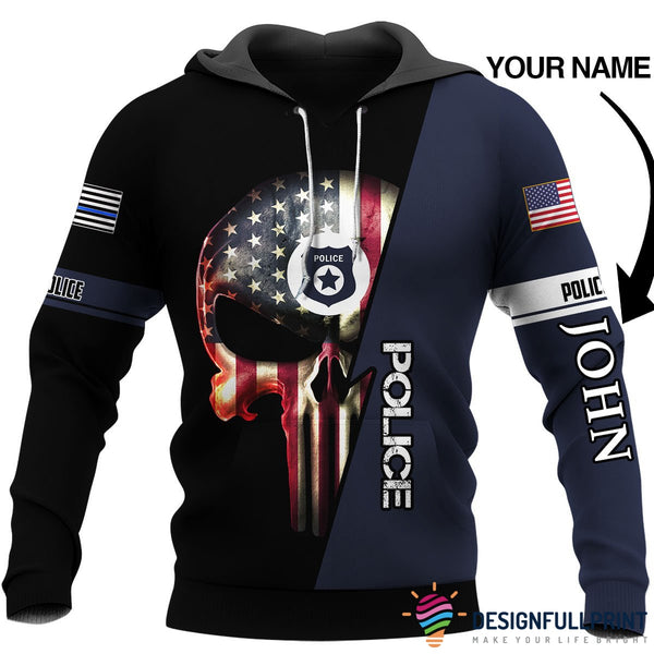 Personalized Law Enforcement US Police Skull Unisex US Size Hoodie