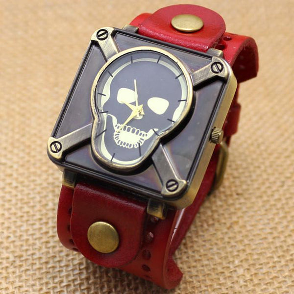 Retro Skull Leather Bracelet Wrist Watch