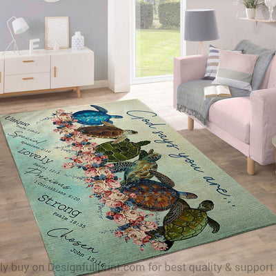 Turtles God Says You Are Beautiful Rug