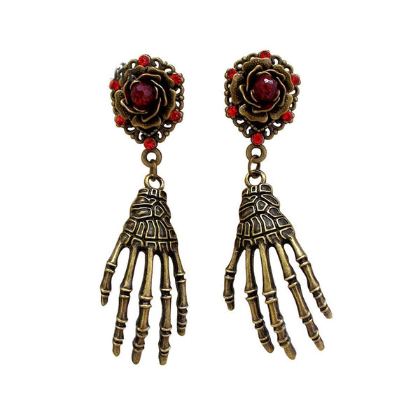 Punk Gothic Hand Skeleton Skull Drop Earrings