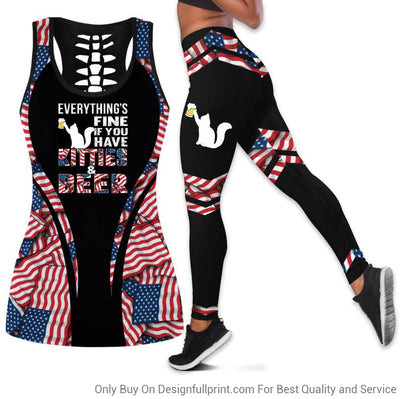 Beer and Kitty Girl Beer Tank Top Legging Set